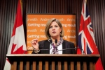 Ontario NDP Leader Andrea Horwath takes questions from the media at Queen's Park in Toronto on Monday, April 15, 2013. (The Canadian Press/Matthew Sherwood)