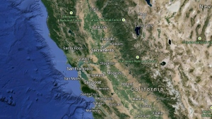 In this Google map, California is pictured.