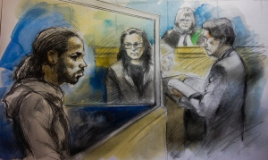A sketch of Mario Wint appearing in court in Newmarket, Ont., on Sunday, Jan. 25, 2015.  (Pam Davies)