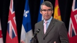 Nova Scotia Premier Stephen McNeil talks with reporters at the summer meeting of Canada's premiers in St. John's on Thursday, July 16, 2015. (THE CANADIAN PRESS/Andrew Vaughan)