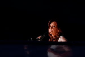 Argentina's President Cristina Fernandez delivers her farewell speech in front of the presidential palace in Buenos Aires, Argentina, Wednesday, Dec. 9, 2015. (AP Photo/Ricardo Mazalan)