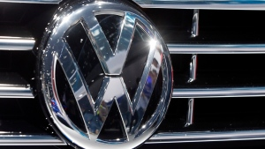 In this Sept. 22, 2015, file photo, the Volkswagen logo is seen on a car during the Car Show in Frankfurt, Germany. (AP / Michael Probst, File)