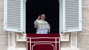 Pope Francis delivers his blessing during the Regina Coeli prayer from his studio's window overlooking St. Peter's Square, at the Vatican, Sunday, May 1, 2016. (AP / Alessandra Tarantino)