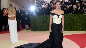 "Emma Watson arrives at The Metropolitan Museum of Art Costume Institute Benefit Gala, celebrating the opening of ""Manus x Machina: Fashion in an Age of Technology"" on Monday, May 2, 2016, in New York. (Photo by Charles Sykes / Invision / AP)"