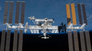 An undated photo provided by NASA shows the International Space Station in orbit. (NASA via AP)