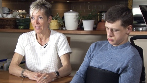 Michelle Gentis, seen here with her son Josh, speaks to CTV News.