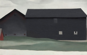 This undated image provided by the O'Keeffe Museum in Santa Fe, N.M., shows Georgia O'Keeffe's painting, 'The Barns, Lake George.' The museum recently purchased the rarely seen 1926 painting for $3.3 million. (O'Keeffe Museum via AP)