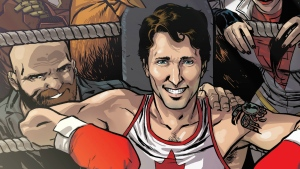 Prime Minister Justin Trudeau is drawn surrounded by the members of Alpha Flight on the cover of Civil War II: Choosing Sides #5, featuring is shown in a handout photo. (THE CANADIAN PRESS / HO - Ramon Perez)