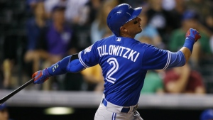 Toronto Blue Jays' Troy Tulowitzki follows the flight of his solo home run off Colorado Rockies starting pitcher Eddie Butler to lead off the top of the fourth inning of a baseball game in Denver on Tuesday, June 28, 2016. (AP / David Zalubowski)