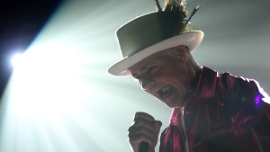 The Tragically Hip's Gord Downie, performs during the first stop of the Man Machine Poem Tour at the Save-On-Foods Memorial Centre in Victoria, B.C. on Friday, July 22, 2016. (Chad Hipolito / THE CANADIAN PRESS)