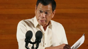 Philippine President Rodrigo Duterte delivers his first State of the Nation Address before the joint session of the 17th Congress in suburban Quezon city, northeast of Manila, Philippines on Monday, July 25, 2016. (AP / Bullit Marquez)