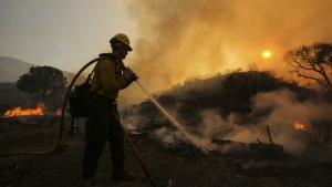 A firefighter battles a wildfire near Placerita Canyon Road in Santa Clarita, Calif. on Sunday, July 24, 2016. (AP / Ringo H.W. Chiu)