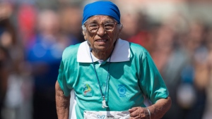 Man Kaur, 100, of India, competes in the 100-metre track and field event at the Americas Masters Games in Vancouver, B.C., on Monday, Aug. 29, 2016. (THE CANADIAN PRESS/Darryl Dyck)