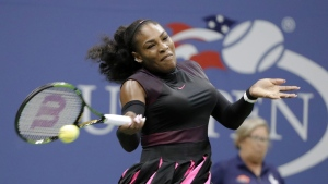 Serena Williams, of the United States, returns a shot from Ekaterina Makarova, of Russia, during the first round of the U.S. Open tennis tournament, Tuesday, Aug. 30, 2016, in New York. (AP / Darron Cummings)