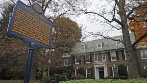 FILE - In this Oct. 25, 2012, file photo, a blue state historical marker sits outside Grace Kelly's family's home in Philadelphia. (April Saul/The Philadelphia Inquirer via AP, File)