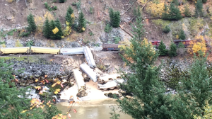 Crews are responding to a train derailment north of Hope, B.C. No one was injured. Oct. 25, 2016. (Fire Chief Dan Friesen of the Yale & District Fire Department)