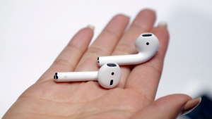 The new Apple AirPods are shown during an event to announce new Apple products in San Francisco, on Sept. 7, 2016. (Marcio Jose Sanchez / AP)