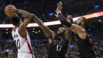 Phoenix Suns forward P.J. Tucker and Tyson Chandler defend against Toronto Raptors' DeMar DeRozan during second half NBA basketball action in Toronto on Sunday, January 22, 2017. (Chris Young / THE CANADIAN PRESS)
