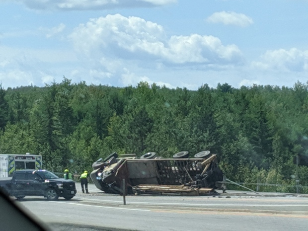 transport rollover on Hwy 17 bypass in Sudbury
