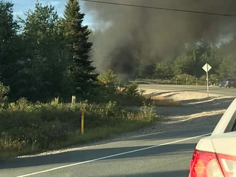 Fiery crash on MR84 in Capreol