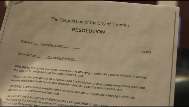 City of Timmins resolution on opioid emergency