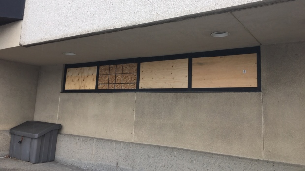Sudbury Police Headquarters windows broken 2