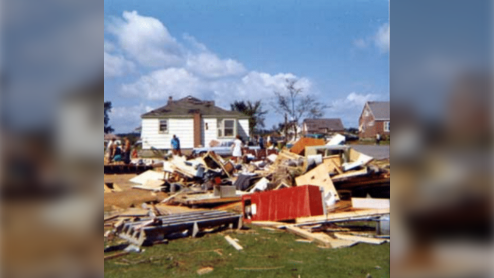 Pile of rubble after Sudbury tornado