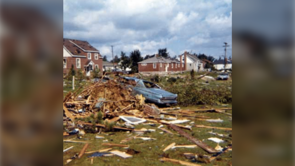1970 tornado in Sudbury damaged cars and homes
